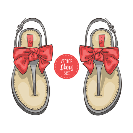 flip flops: Vector three color womens t-strap flip flops with a bow