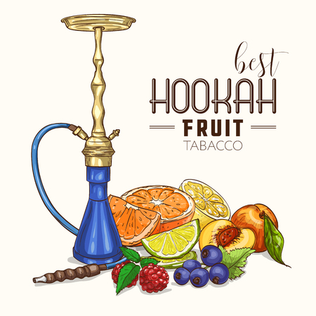 Vector illustration, hookah fruit tabacco, color sketch. Vector illustration EPS 10 Vettoriali