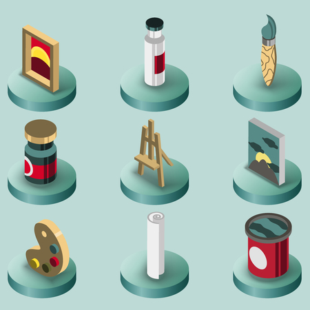 pictorial art: Art color isometric icons set Illustration