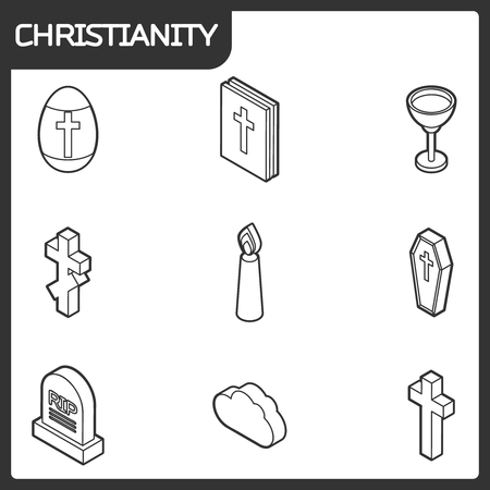 A Christianity outline isometric icons.