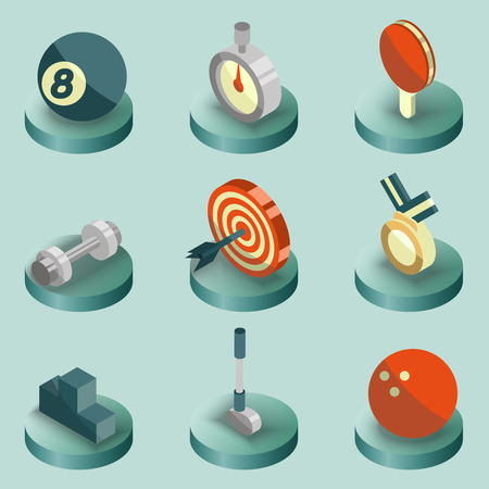 Sport color isometric icons