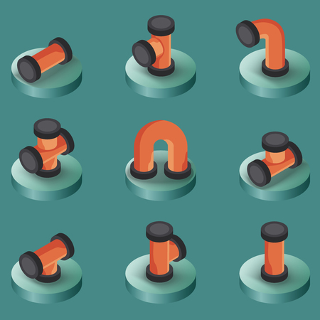 Pipes color isometric icons