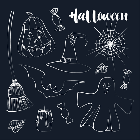 Happy Halloween hand drawn illustrations and design elements. Vector illustration, EPS 10