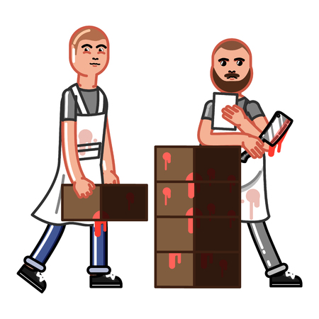 Man carrying boxes while butcher checking the list