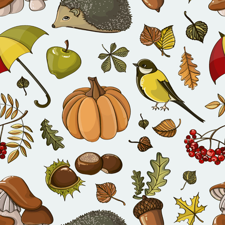 Autumn symbols pattern of elements for your design with pumpkins, sunflower, leaves, cones, acorns, ears, branches and other