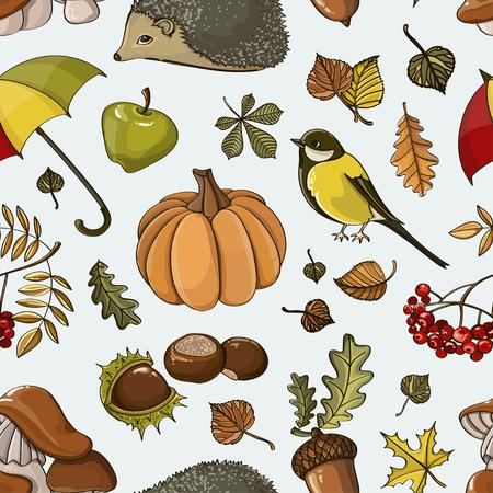 Set of autumn symbols pattern