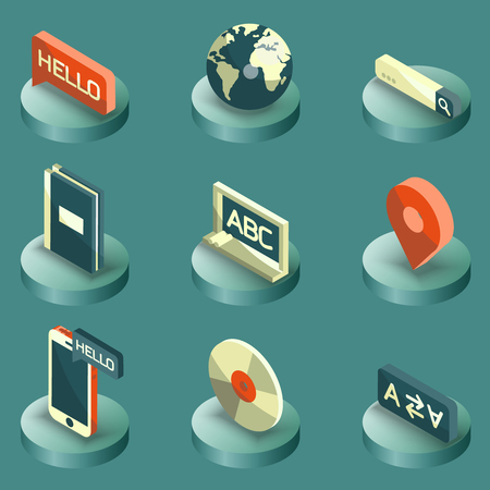 talking dictionary: Languages color isometric icons Illustration