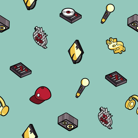 Rap color outline isometric pattern icons vector illustration.