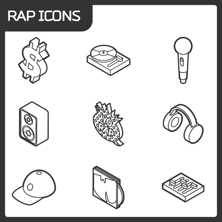 Rap outline isometric icons vector illustration.