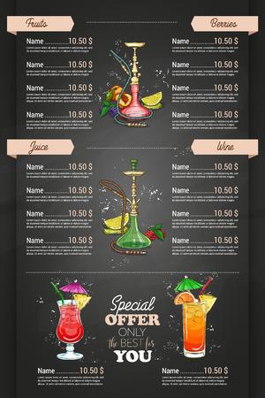 Vertical colorful menu design page of hookah bar on dark background