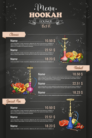 Vertical colorful menu design page of hookah bar on dark background