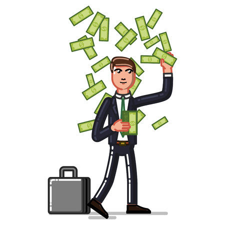Business man get money from air. Vector illustration, EPS 10