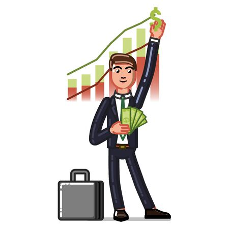 Business man get money from graphicks. Vector illustration, EPS 10 Illustration