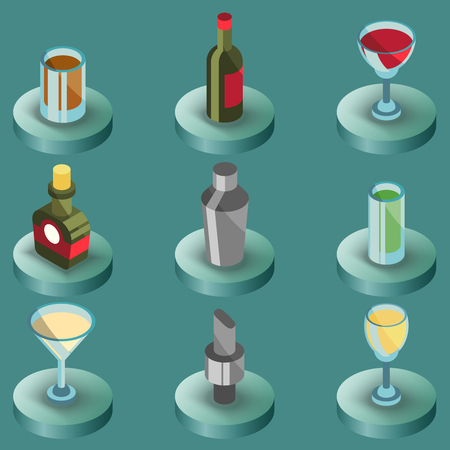 Bar color isometric icons. Vector illustration, EPS 10