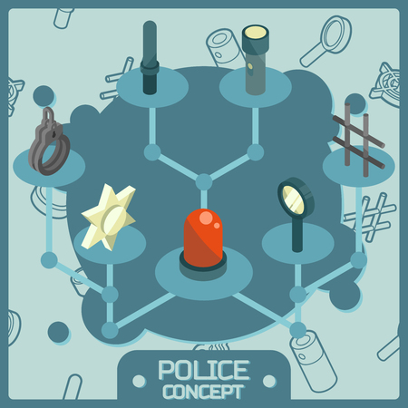 Police colored isometric concept icons Vector illustration Illustration