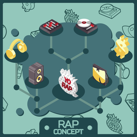 Rap colored isometric concept icons Vector illustration Illustration