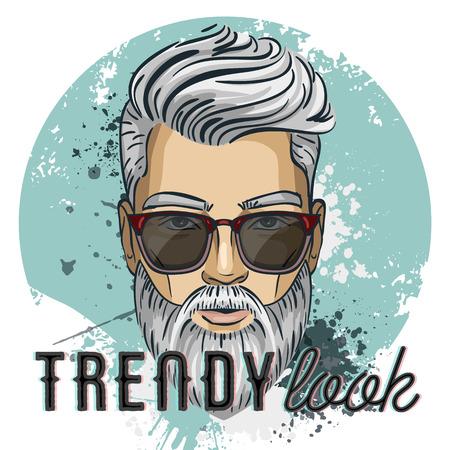 Homme de modèle de vecteur hipster Banque d'images - 90427123