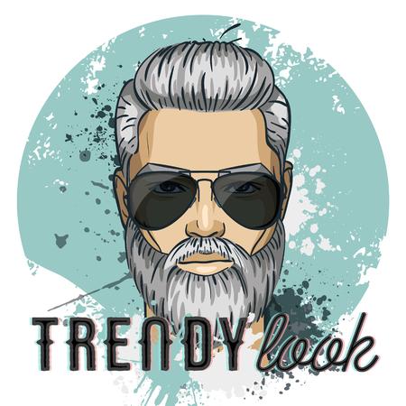 Vector man model with drop sunglasses. Trendy look. Vector illustration, EPS 10 Illustration