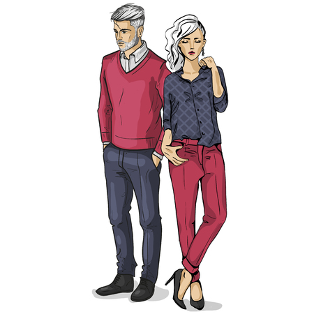 Vector woman and man models dressed in classic style