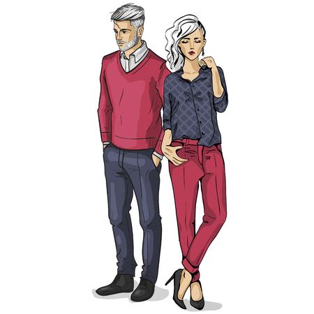 Vector vrouw en man modellen gekleed in klassieke stijl Stockfoto - 91212472