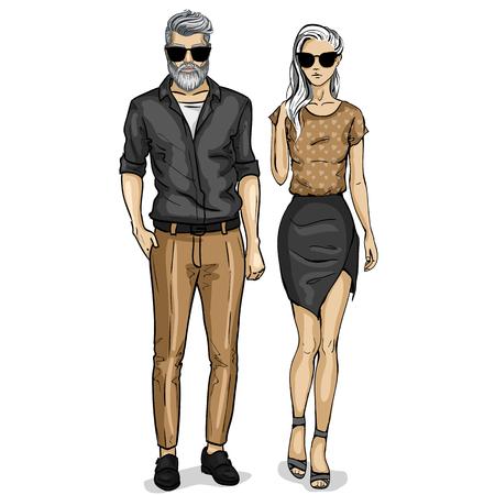 Vector vrouw en man modellen gekleed in klassieke stijl met zonnebril