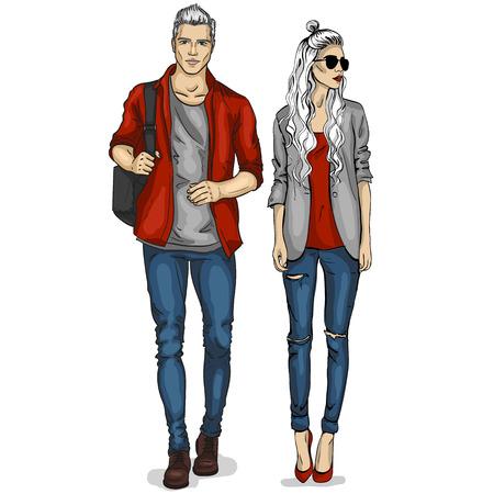 Vector woman and man models Stockfoto - 91434422