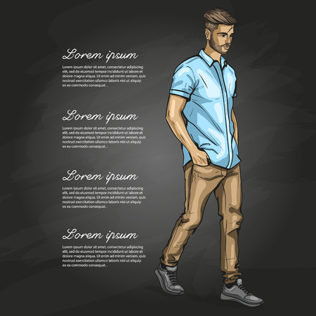 Vector man model dressed in jeans shirt and sneakers on dark background