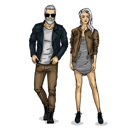 Vector woman and man models with jackets