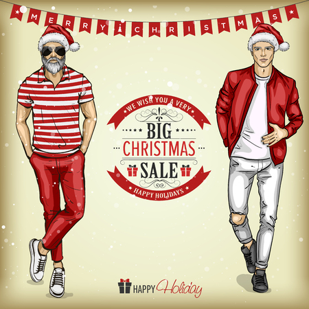Vector man models with Santa hats in casual style, christmas sale tagline Stock Illustratie