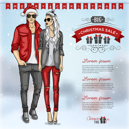 Vector man and girl models with sunglasses, christmas sale