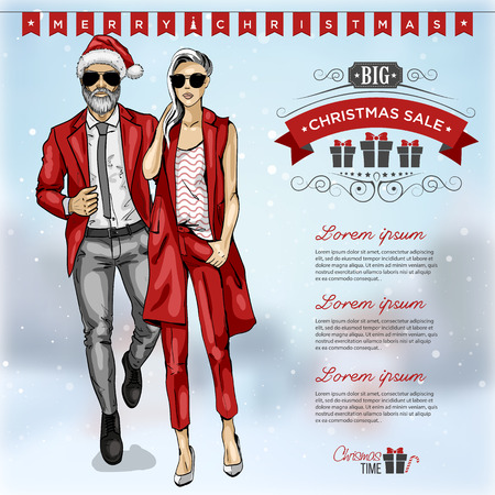 Vector illustration fashion man and girl Stock Photo