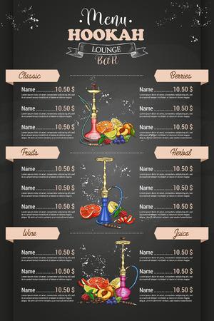 Vector vertical color menu design front page hookah lounge bar on dark background 免版税图像 - 91334629