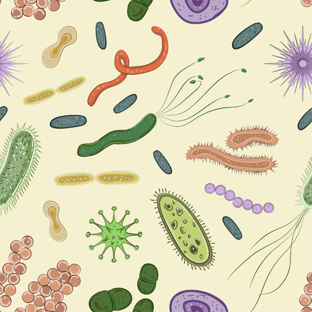 Bacteria, virus, germs icon pattern.