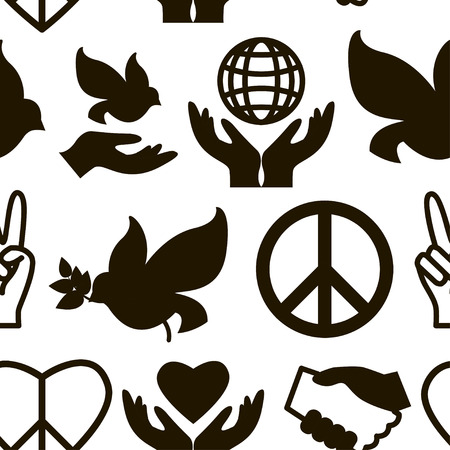 Peace icons pattern.