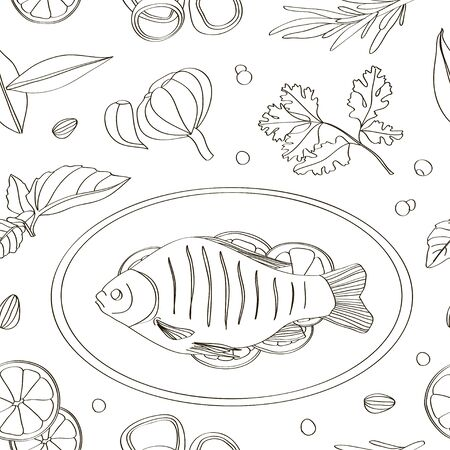 Spices for cooking fish pattern. Illustration