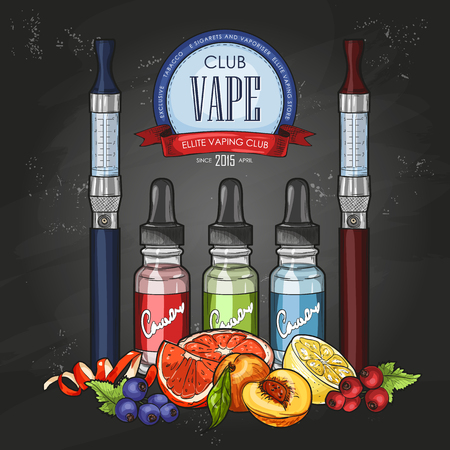 Vector color sketch vaporizer cigarette.