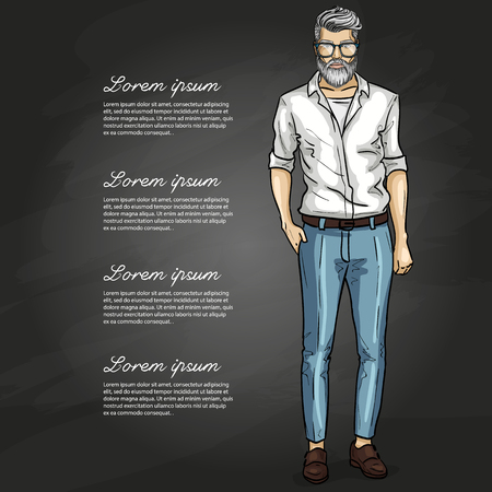 Man model with jeans and t-shirt. Illustration