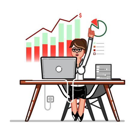 Female entrepreneur in the office icon. Illustration