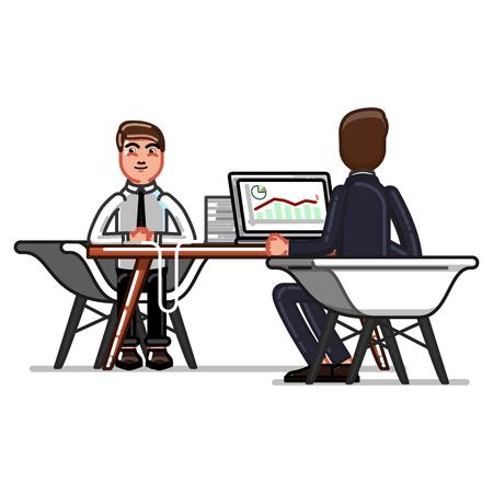 Man having a job interview icon.