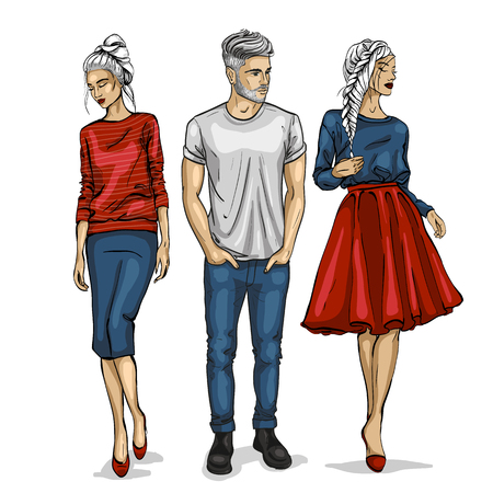Male and female fashion models icon. Illustration