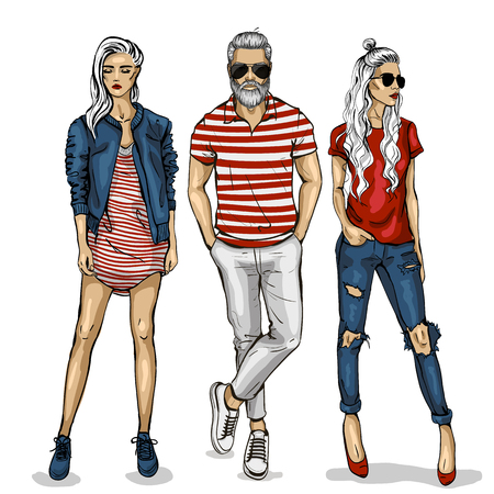 Male and female fashion models icon. Ilustrace