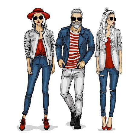 Mannelijke en vrouwelijke mode modellen pictogram. Vector Illustratie