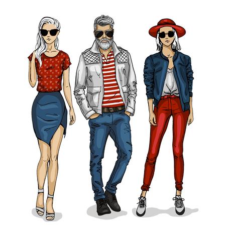 Male and female fashion models icon. Illustration