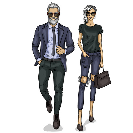 Man and a woman fashion models icon.