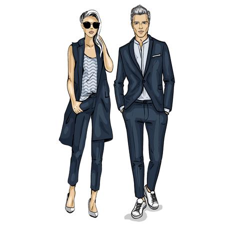 Mężczyzna i kobieta ikona modeli mody. Ilustracje wektorowe