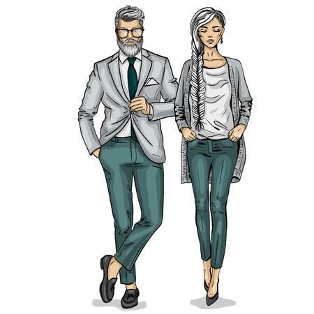 Man en een vrouw fashion modellen pictogram. Stock Illustratie