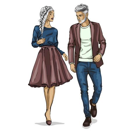 Ikona moda model mężczyzna i kobieta. Ilustracje wektorowe