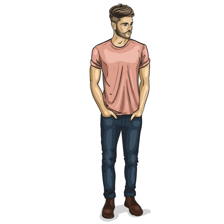 Vector man model dressed in jeans shoes and t-shirt
