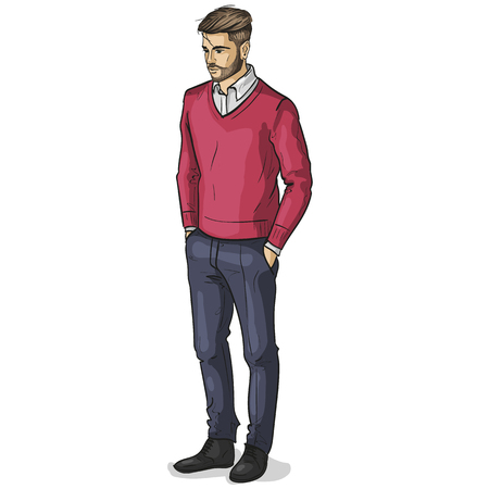 Vector man model dressed in pullover pants and shoes Stock Photo