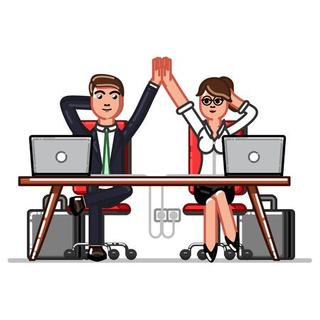 Business man and woman chilling in workplace Vector illustration.